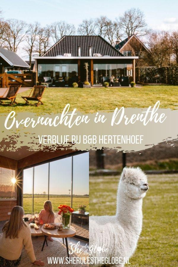 Overnachten in Drenthe bij B&B Hertenhoef